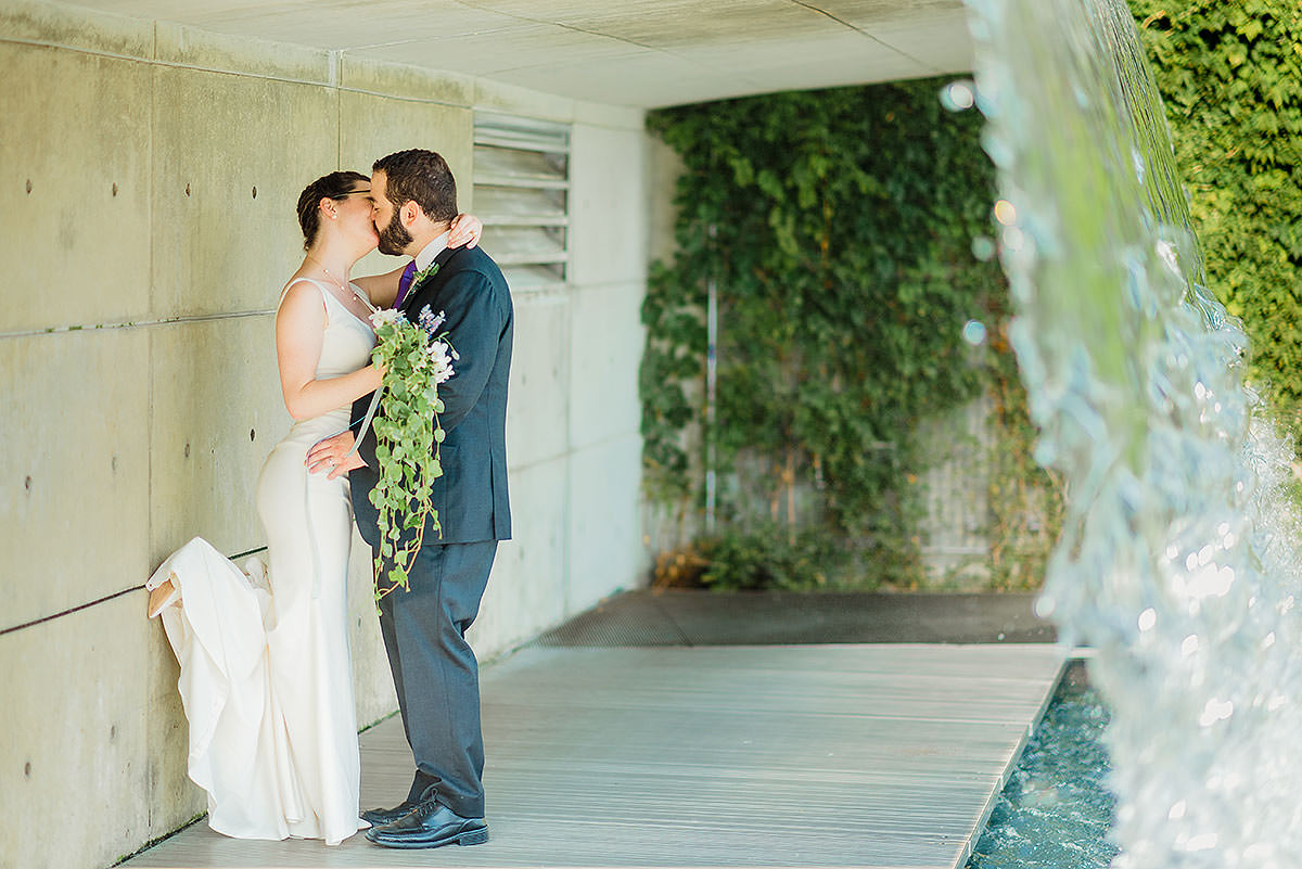 Yards Park DC waterfall and bridge wedding portraits by Washington DC Wedding Photographer Adam Mason