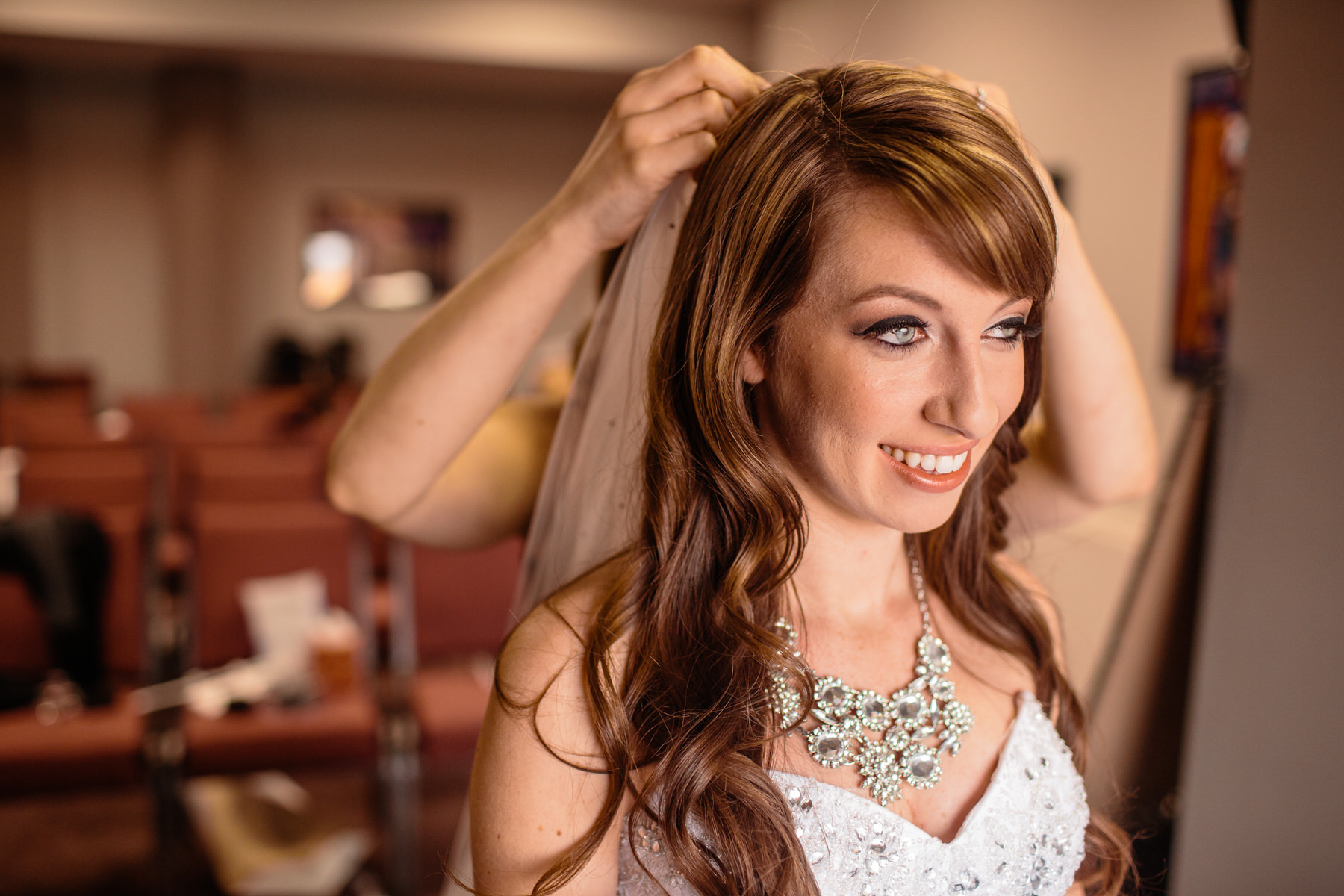 bride getting ready at calvary assembly by frederick maryland wedding photographer Adam Mason