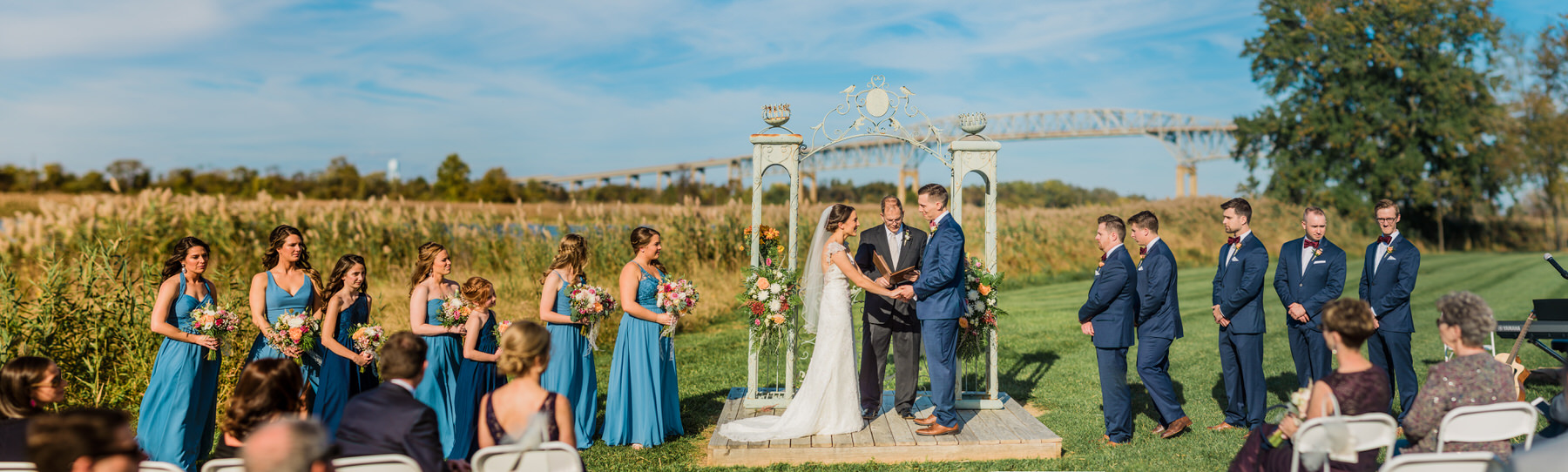 An outdoor ceremony at Thousand Acre Farm by Washington DC Wedding Photography Adam Mason