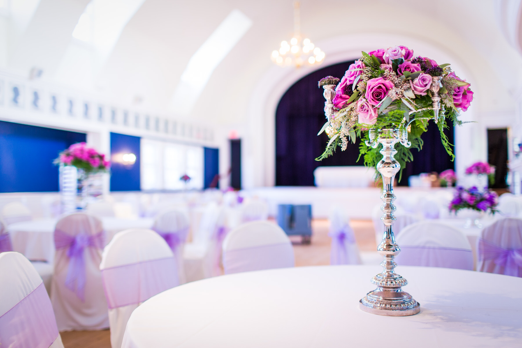 The details of an indoor reception at the Germantown Cricket Club by Washington DC Wedding Photographer Adam Mason