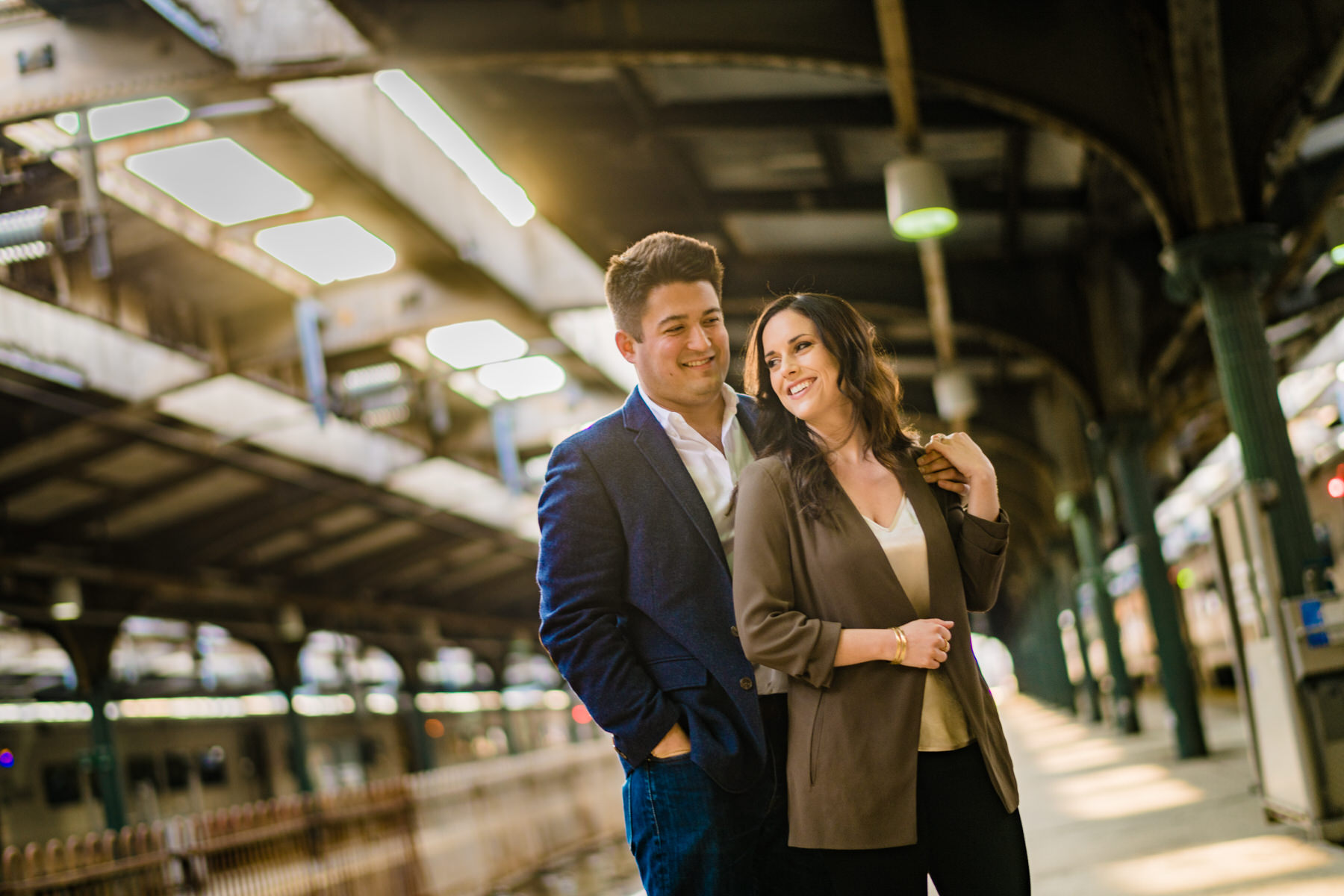 hoboken terminal engagement photos in New York City or Hoboken New Jersey by Washington DC Wedding Photographer Adam Mason