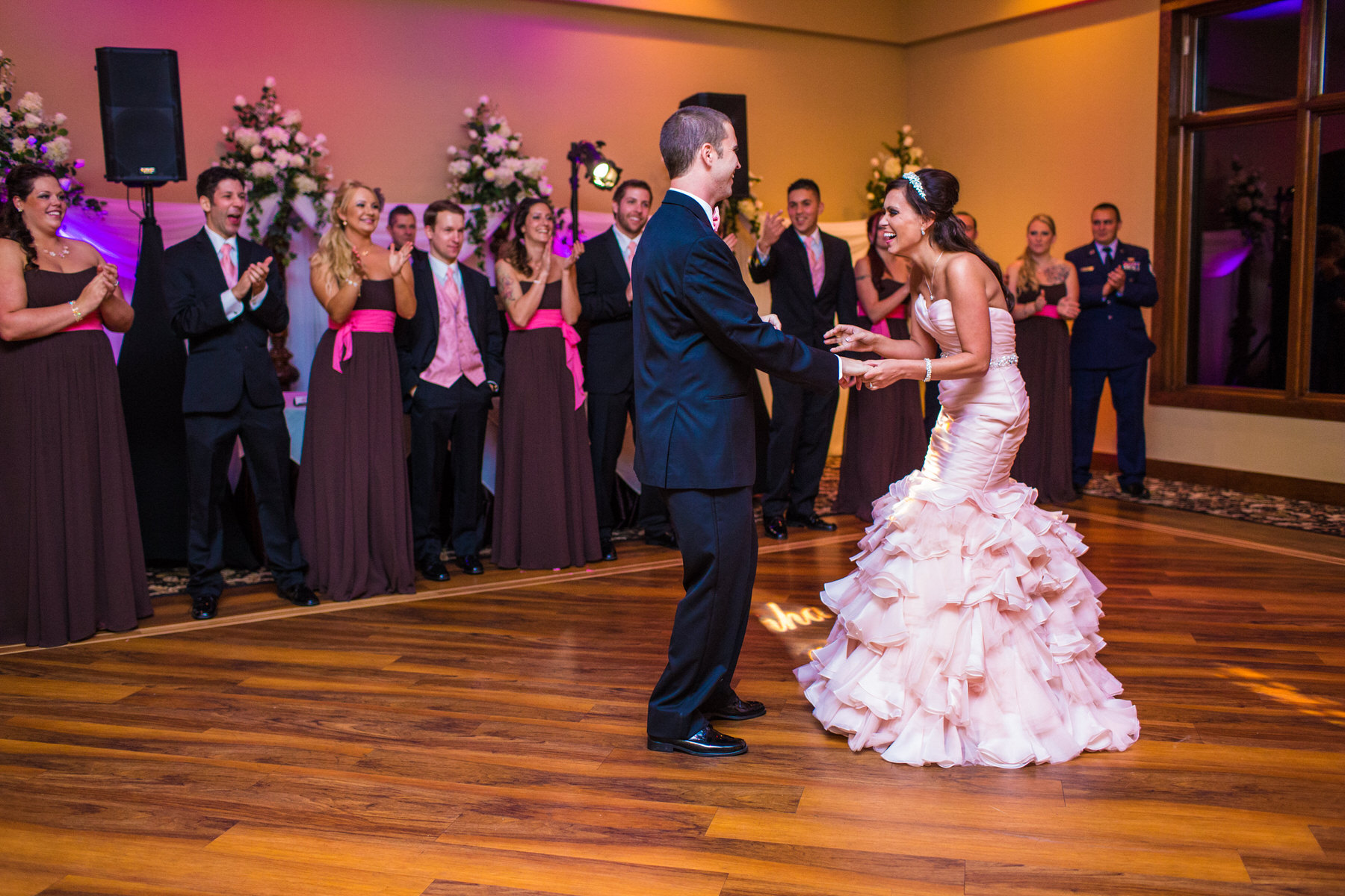 The bride and groom dancing at an indoor reception at Stroudsmoor Country Inn by Washington DC Wedding Photographer Adam Mason