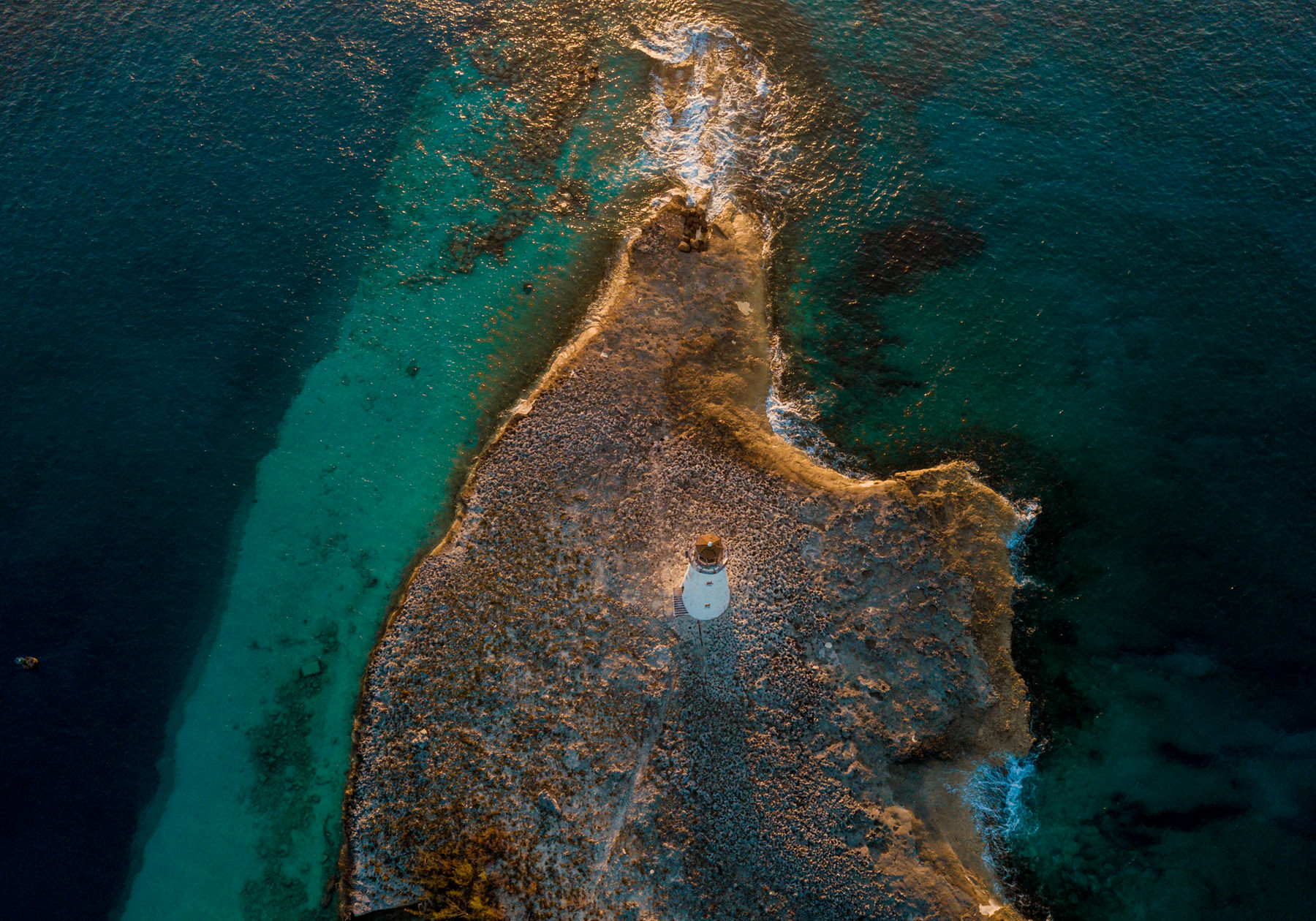 lighthouse in bahamas photo by drone