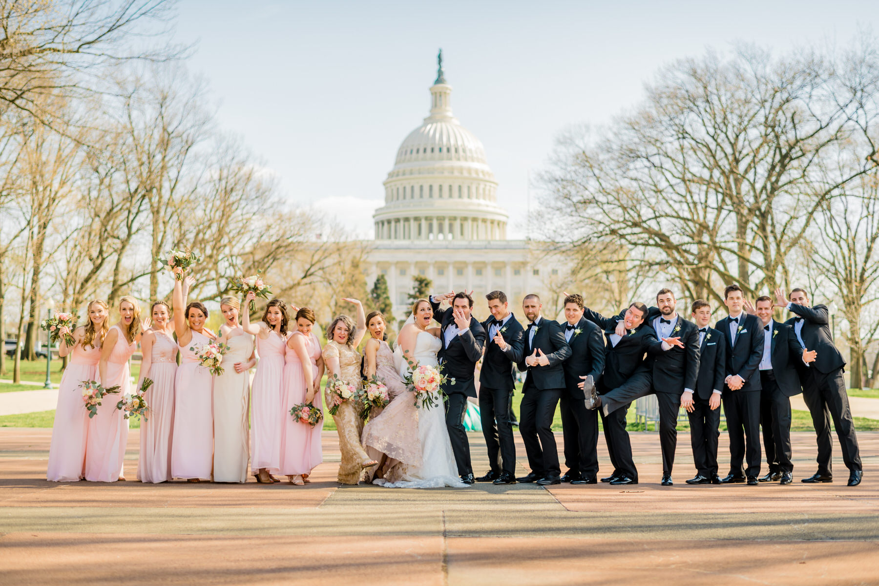 wedding portraits and bridal party photos in front of capitol by Washington DC Wedding Photographer Adam Mason