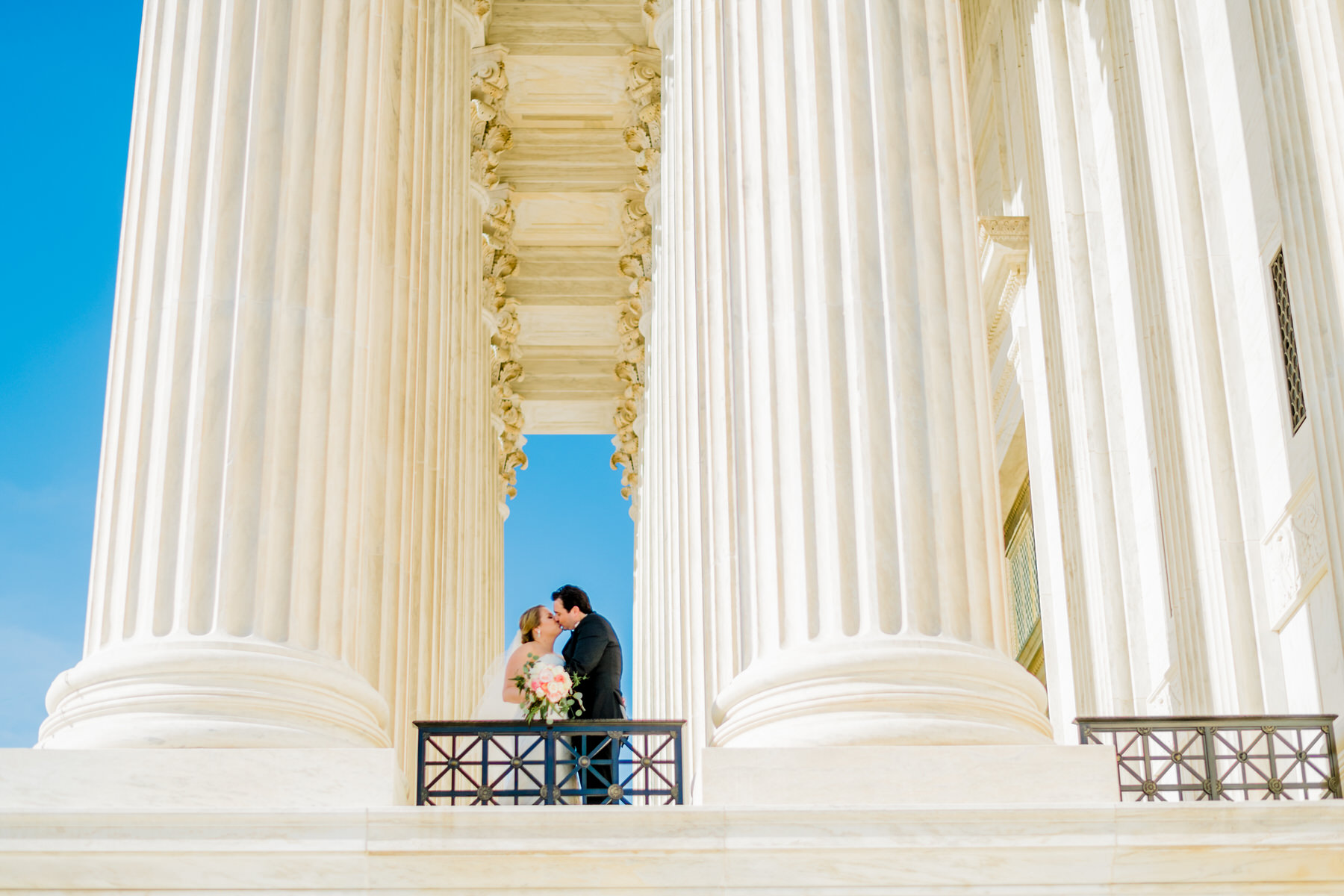 capitol hill wedding portraits at supreme court by Washington DC Wedding Photographer Adam Mason