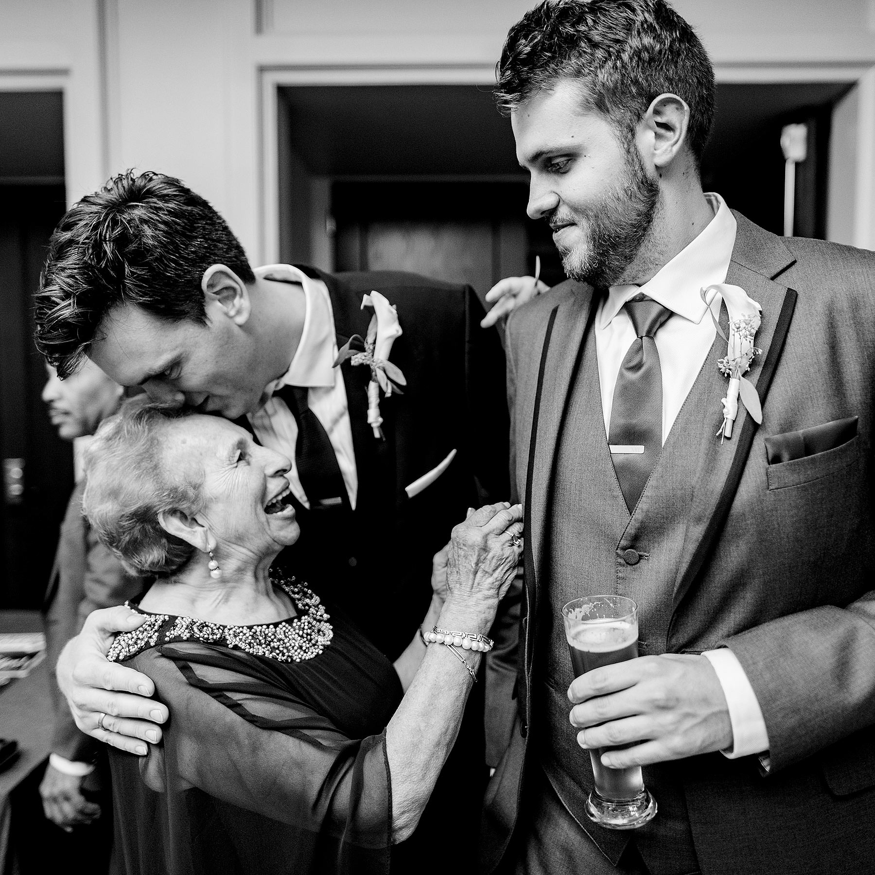 brothers and their abuelita at line hotel wedding by Washington DC Wedding Photographer Adam Mason