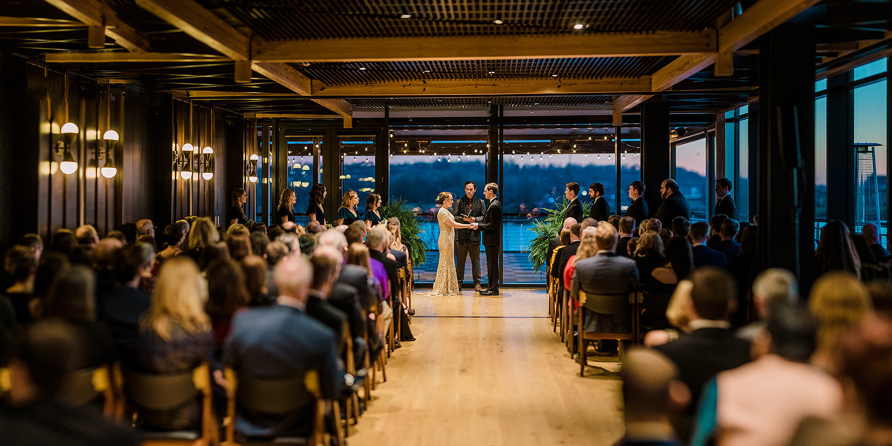 gorgeous sunset on the potomac river during district winery wedding by Washington DC Wedding Photographer Adam Mason