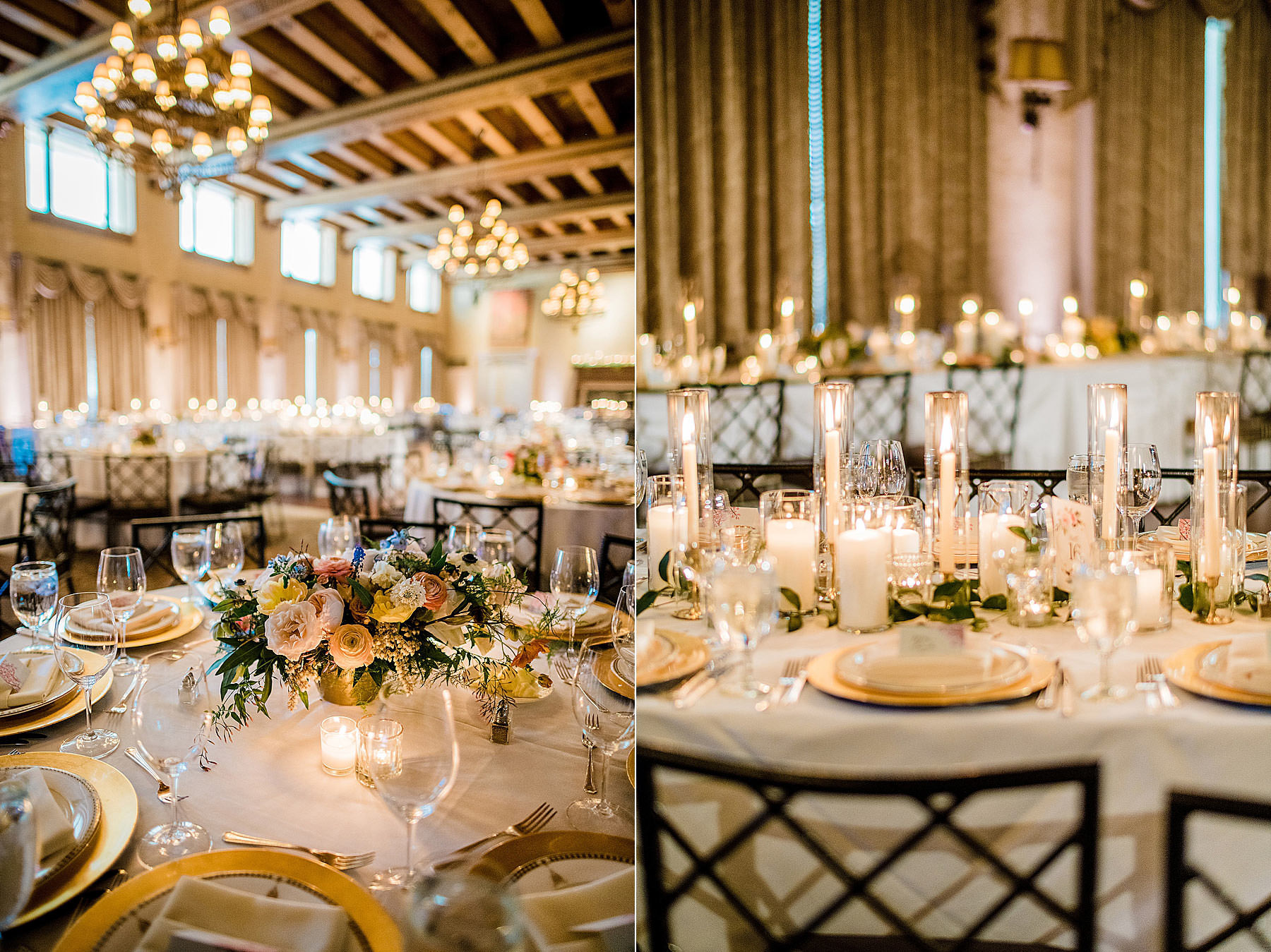 table setup with candles and darling and daughters floral centerpieces at congressional country club wedding by Washington DC Wedding Photographer Adam Mason