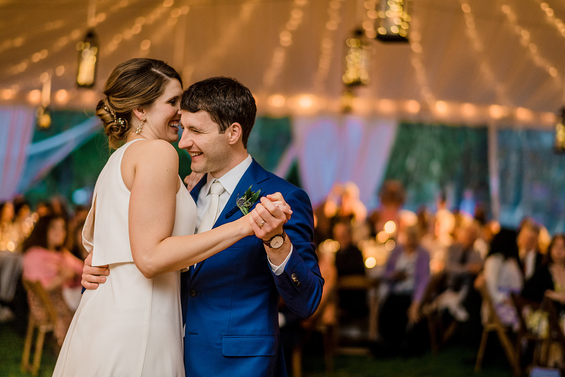 happy couple during first dance under tent at lincolns cottage wedding by Washington DC Wedding Photographer Adam Mason