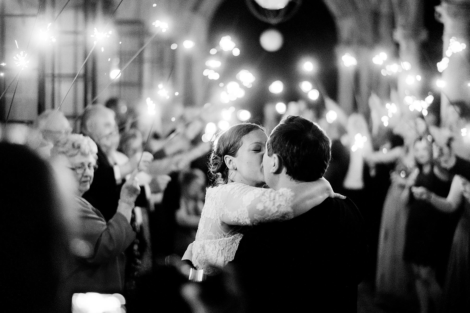 romantic sparkler exit at archmere academy wedding by Washington DC Wedding Photographer Adam Mason