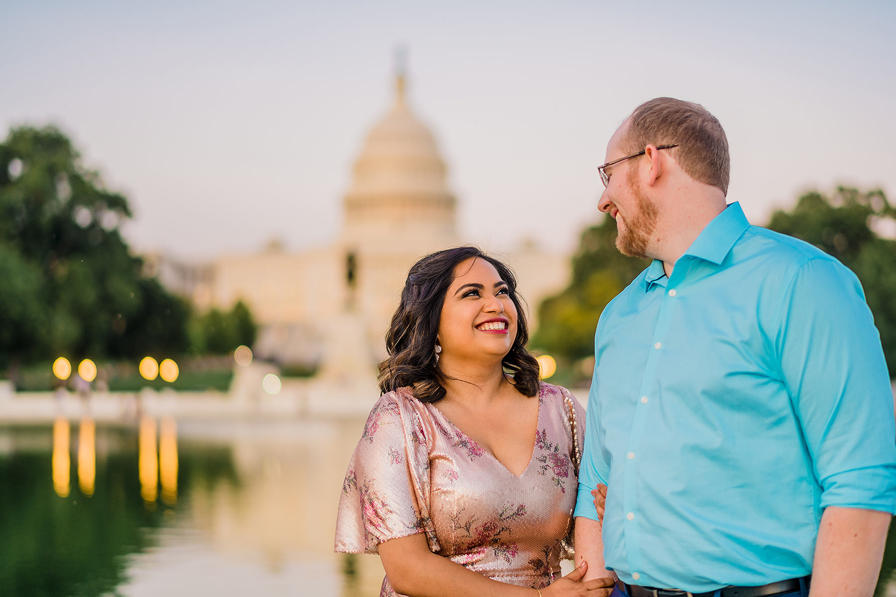 romantic sunset capitol engagement photos in dc by Washington DC Wedding Photographer Adam Mason