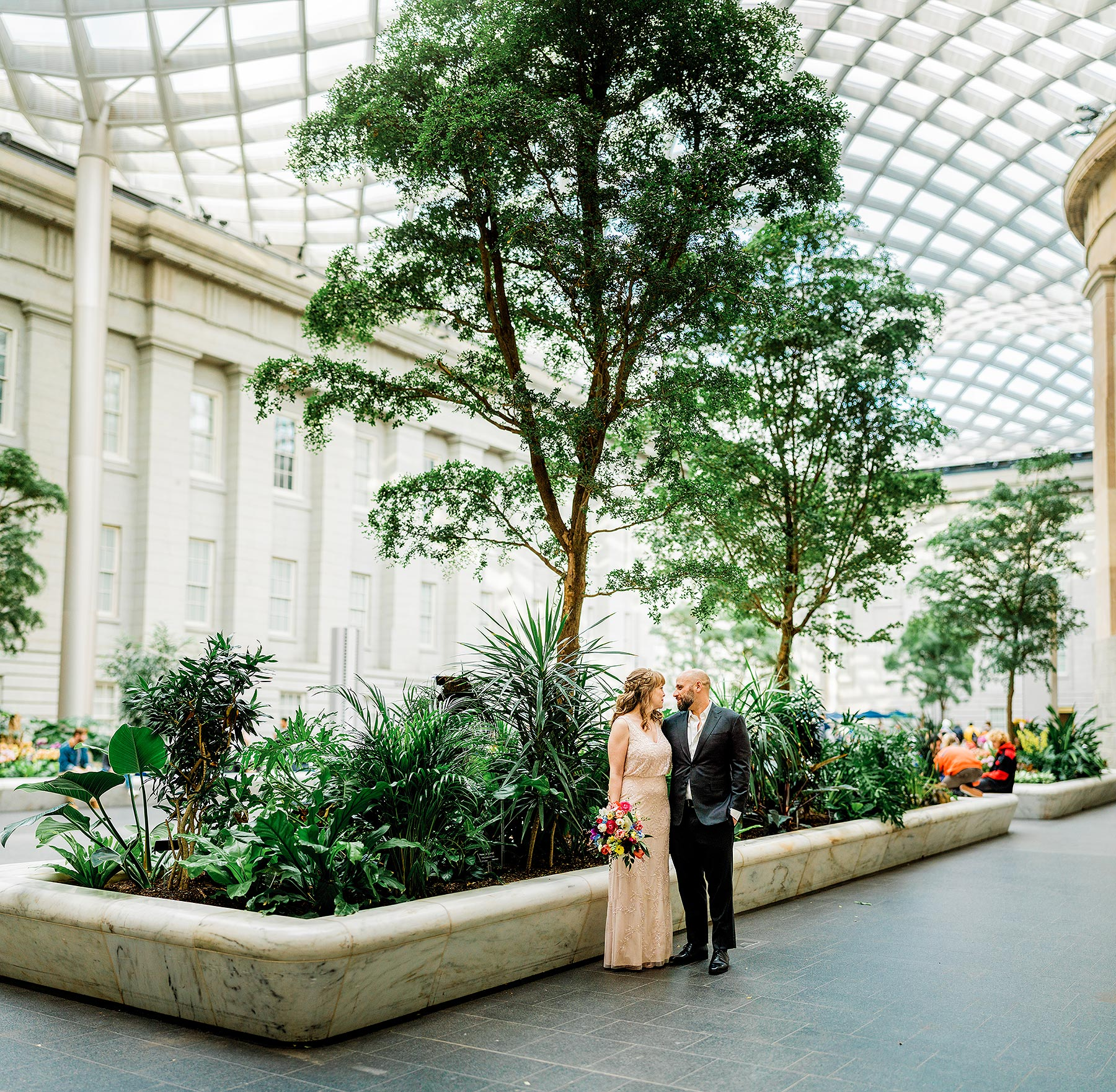 kogod courtyard wedding portraits at national gallery wedding by Washington DC Wedding Photographer Adam Mason