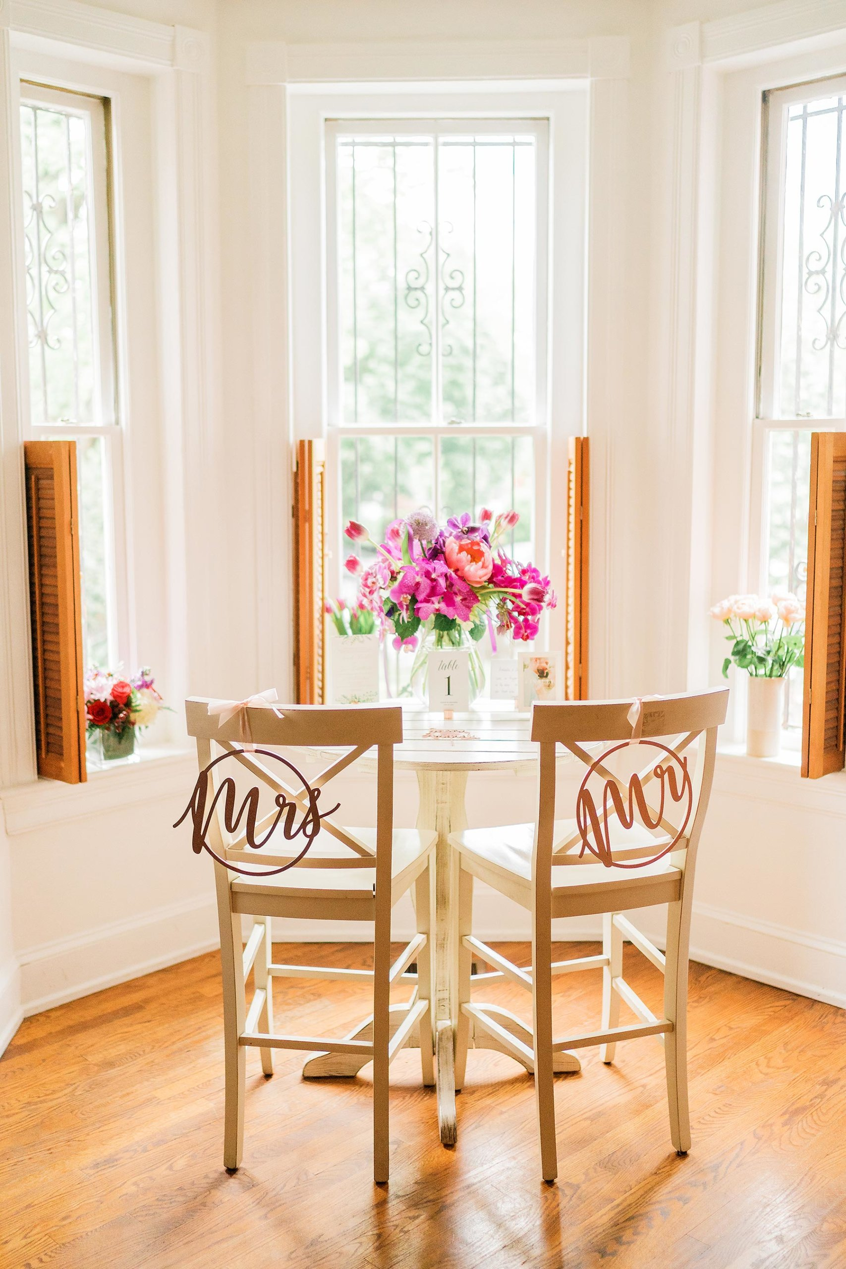 makeshift sweetheart table at home during at home zoom wedding on capitol hill by Washington DC Wedding Photographer Adam Mason