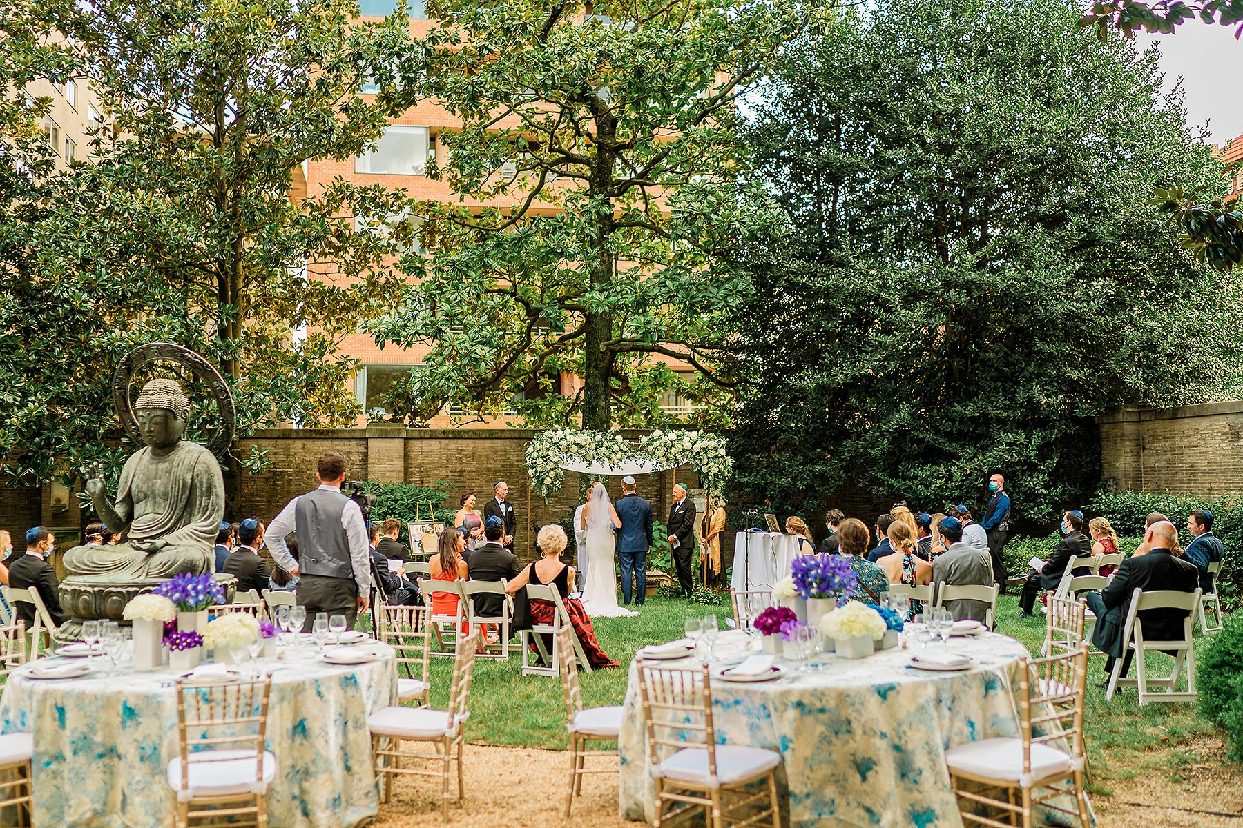 socially distanced outdoor summer ceremony at larz anderson house wedding by Washington DC Wedding Photographer Adam Mason