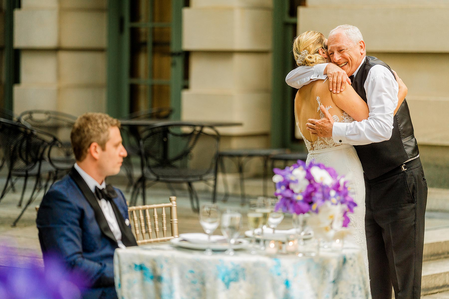 emotional father of the bride speech at larz anderson wedding courtyard by Washington DC Wedding Photographer Adam Mason