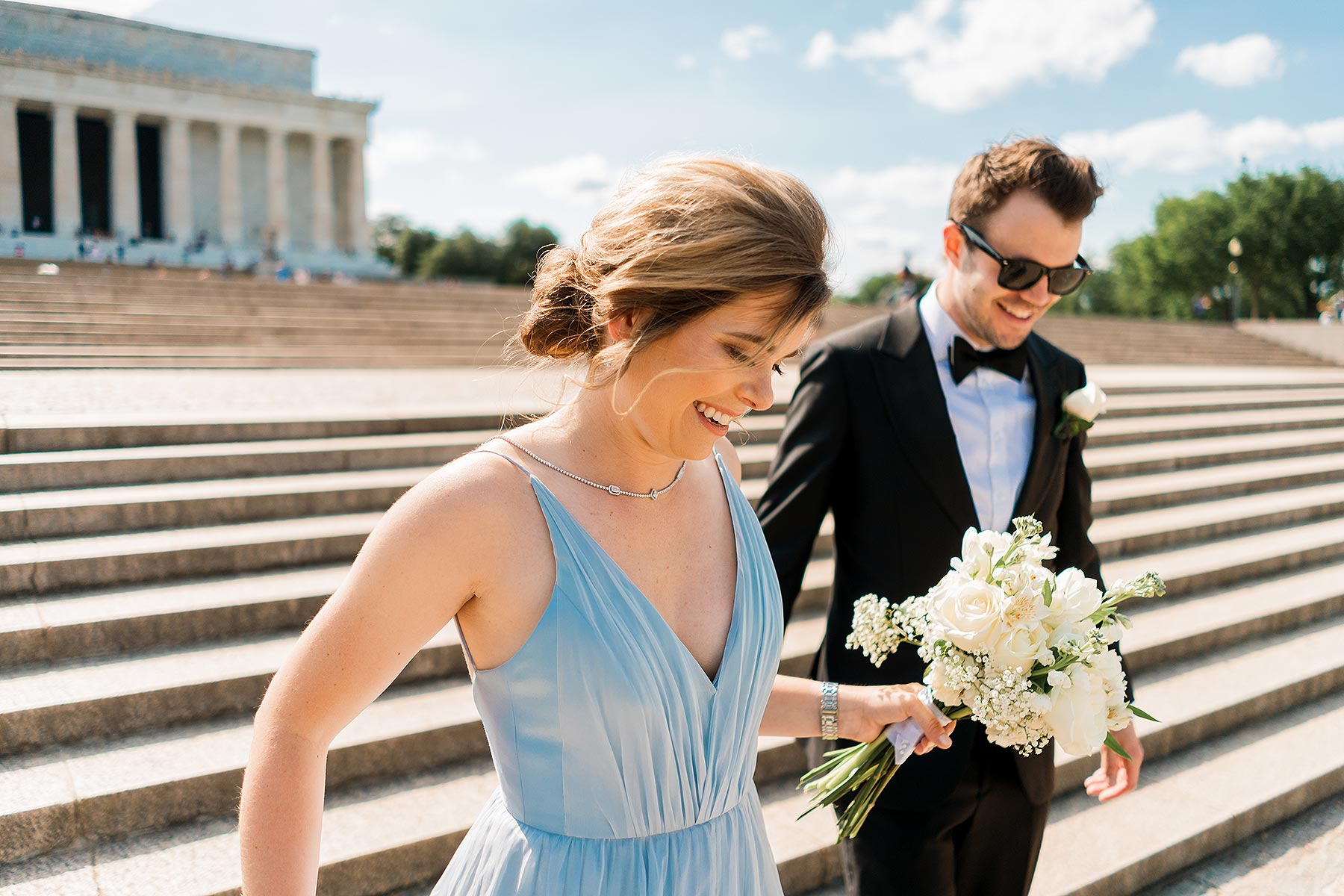 bride in baby blue dress and groom portraits at lincoln memorial by Washington DC Wedding Photographer Adam Mason
